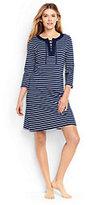 Lands' End Women's Petite Lace Up Swim Cover-up Dress-Deep Sea/White Media Stripe