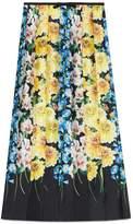 Gucci Florage print satin pleated skirt
