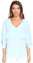 Karen Kane V-Neck Double Layer Top Women's Clothing