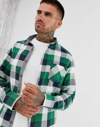 Brave Soul buffalo plaid flannel shirt in forest green