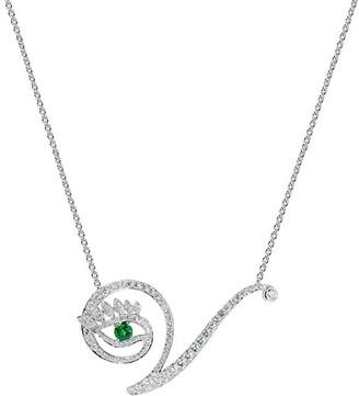 Tabayer Eye 18K White Gold, Emerald Diamond Victorious Pendant Necklace