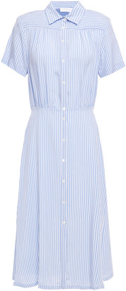 Sandro Mel Striped Washed-woven Midi Shirt Dress