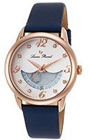 Lucien Piccard Women's 'Bellaluna' Swiss Quartz Stainless Steel and Leather Casual Watch, Color:Blue (Model: LP-40034-RG-02-NBSS)
