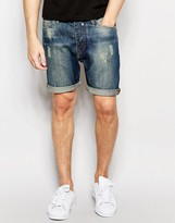 Brave Soul Dark Distressed Denim Shorts