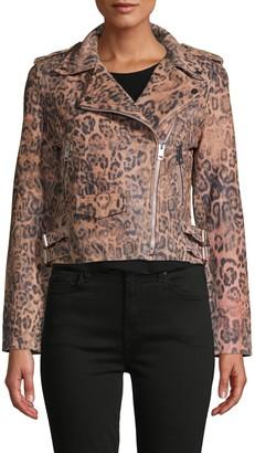 Walter Baker Francis Leopard-Print Leather Moto Jacket