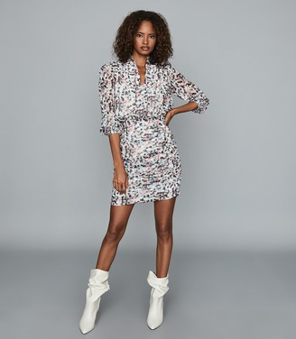 Reiss DAKOTA FLORAL PRINTED DRESS Ivory