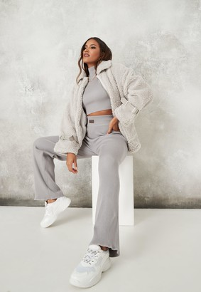 Missguided Grey Co Ord Msgd Wide Leg Knit Trousers