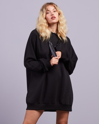 Missguided Women's Black Mini Dresses - MSGD Oversized Hoodie Dress - Size 8 at The Iconic