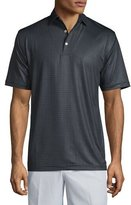 Peter Millar Printed Short-Sleeve Jersey Polo Shirt, Black