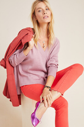 Anthropologie Gabby V-Neck Merino Sweater By in Purple Size L