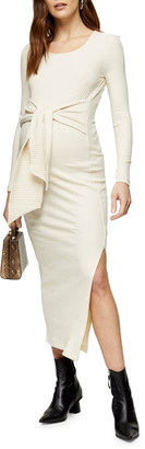Topshop Long Sleeve Waist Tie Rib Maternity Midi Dress
