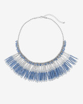White House Black Market Blue Beaded Statement Necklace