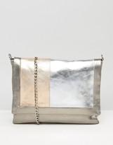 Urban Code Urbancode Gray Real Leather Tonal Color Block Bag