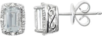 Sterling Silver White Topaz & Diamond Accent Rectangle Halo Stud Earrings