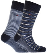 Tommy Hilfiger 2 Pack Three Tone Socks Navy