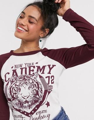 Brave Soul academy long sleeve raglan t shirt