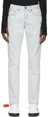 Off-White Blue Bleached Slim-Fit jeans
