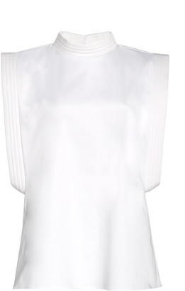 Piece of White Stella High-Neck Open-Side Cotton-Blend Poplin Top