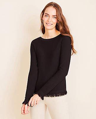 Ann Taylor Seasonless Yarn Fringe Boatneck Sweater
