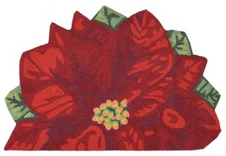 "August Grove Calderon Poinsettia Hand-Tufted Red Indoor/Outdoor Area Rug Rug Size: Half Circle 1'7"" x 2'5"""