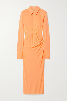 Helmut Lang Ruched Jersey Midi Shirt Dress - Orange