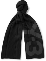 Y-3 Printed Ribbed Cotton-blend Scarf - Black