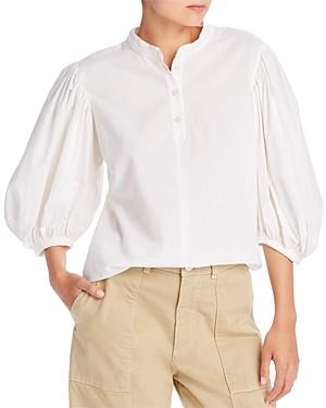 See by Chloe Balloon-Sleeve Pinstriped Blouse