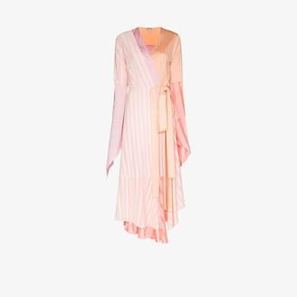 Loewe Asymmetric Colour Block Pleated Wrap Dress