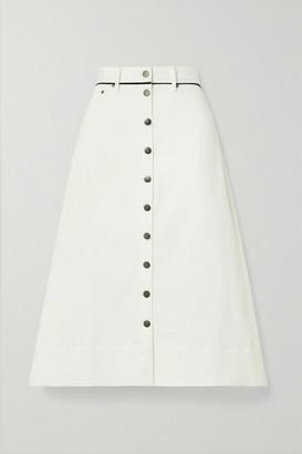 La Ligne Piped Cotton-blend Twill Midi Skirt - Ecru