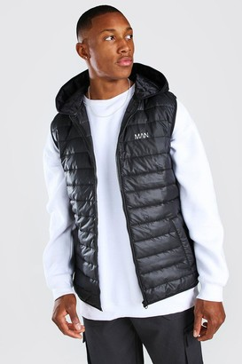 boohoo Mens Black Padded Gilet With Hood, Black
