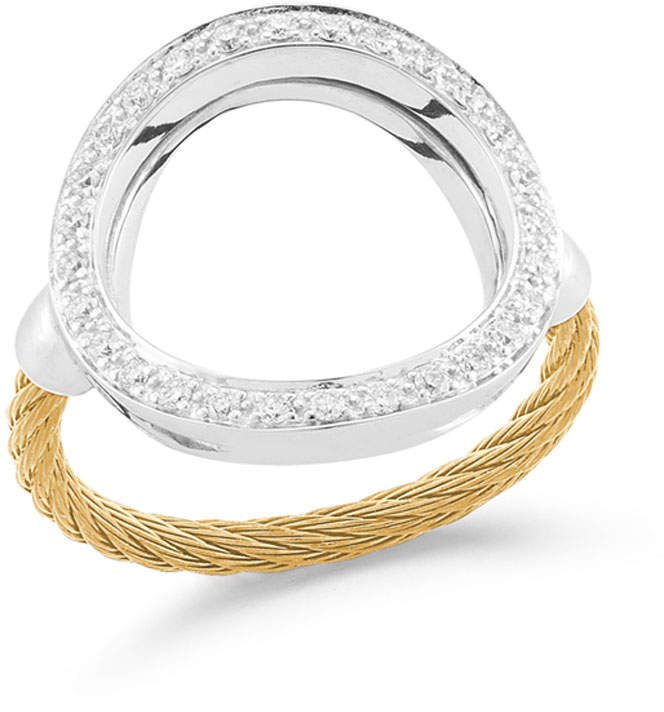 Alor Open Diamond Pave Circle Ring, Yellow, Size 6.5
