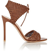 Gianvito Rossi Women's Woven Leather Ankle-Tie Sandals-BROWN