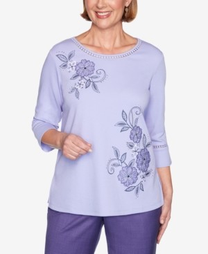 Alfred Dunner Women's Plus Size Wisteria Lane Applique Flowers Bell Sleeve Top