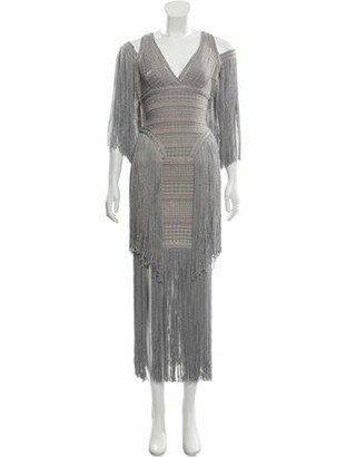 Herve Leger Metallic Fringe Dress Silver