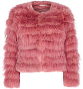 Alice + Olivia Fawn Pink Cropped Fur Jacket