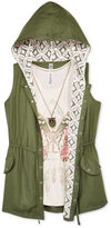 Beautees 3-Pc. Anorak, T-Shirt & Necklace Set, Big Girls (7-16)
