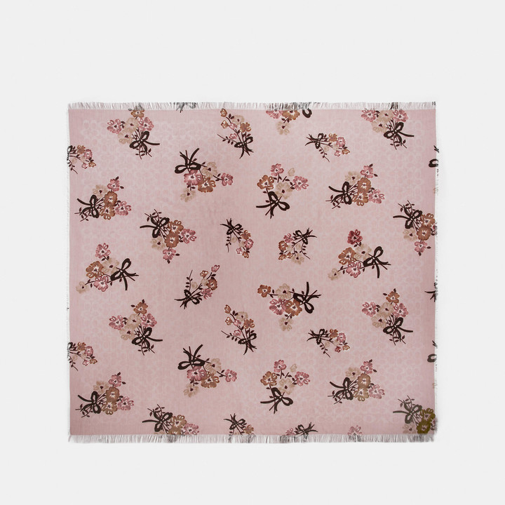 Coach Signature Painted Floral Bow Print Oversized Square Scarf