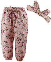 Wennikids Cute Toddler Baby Girls' Floral Loose Pants with Headwrap Large