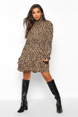 boohoo Leopard Print High Neck Smock Dress