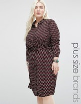 Brave Soul Plus Shirt Dress In Geo Print