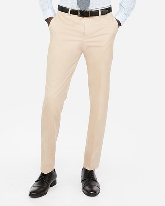 Express Slim Khaki Oxford Cotton Suit Pant