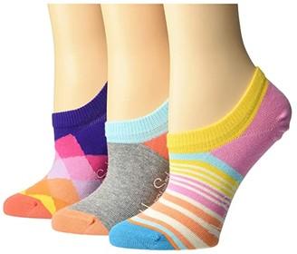 Happy Socks 3-Pack Faded Diamond Sneaker Liner Socks (Medium Pink) Women's Crew Cut Socks Shoes