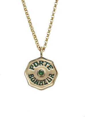 Marlo Laz Mini Emerald and Green Enamel Porte Bonheur Coin 18 Inch Necklace - Yellow Gold