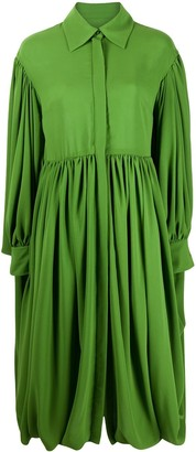 Valentino Gathered Hem Pleated Shirt Dress