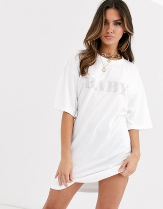 Public Desire oversized t-shirt dress with diamante baby slogan-White