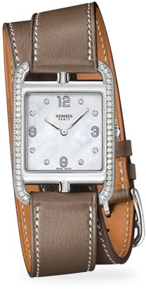 Hermes Cape Cod 29MM Diamond, Stainless Steel & Leather Strap Watch
