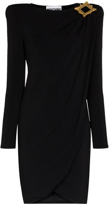 Moschino Draped Exaggerated Shoulder Dress