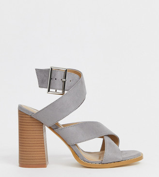 Raid Wide Fit RAID Wide Fit Abree gray stacked heel sandals