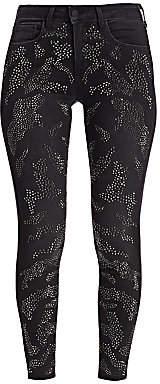 L'Agence Women's Margot Leopard Crystal Skinny Jeans