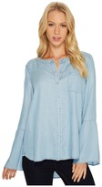 TWO by Vince Camuto - Bell Sleeve Indigo Tencel Collarless Shirt Women's T Shirt